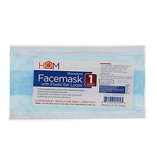 Hom Works 3 Ply Procedural Disposable Adult Face Mask, Each