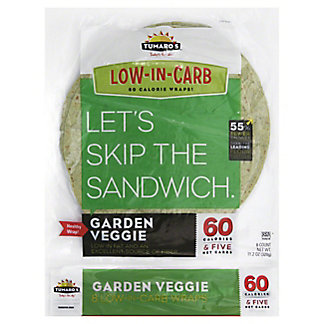 Tumaros Low-In-Carb Garden Veggie Wraps, 8 ct