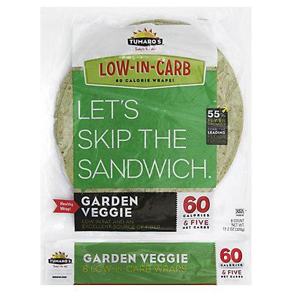 Tumaros Low-In-Carb Garden Veggie Wraps, 8 ct