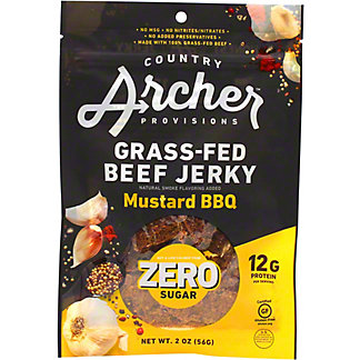 Country Archer Provisions Zero Sugar Mustard BBQ Grass Fed Beef Jerky, 2 oz
