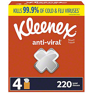 KLEENEX Anti-Viral Facial Tissues 4 pk, 240 ct
