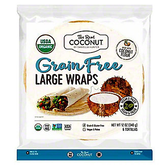 The Real Coconut Grain Free Large Wraps, 6 ct