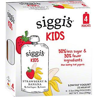 Siggi's 2% Strawberry & Banana Yogurt Kids Pouch, 4 ct, 3.5 oz ea