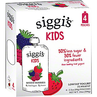 Siggi's 2%Mixed Berry Yogurt Kids Pouch, 4 ct, 3.5 oz ea