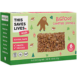 This Bar Saves Lives Kids Big Foot Campfire S'mores Krispy Treats, 6 ct, .78 oz ea