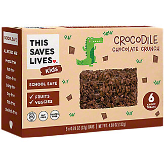 This Bar Saves Lives Kids Crocodile Chocolate Crunch Krispy Treats, 6 ct, .78 oz ea