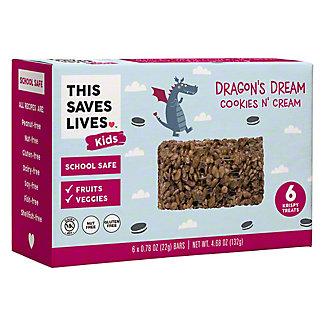 This Saves Lives Kids Dragons Dream Cookies N Cream Krispy Treats, 6 ct