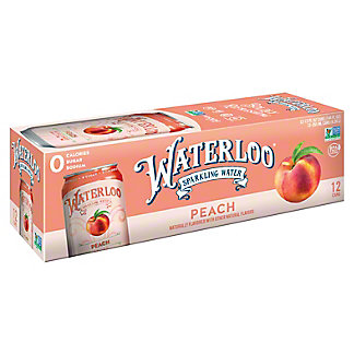 Waterloo Peach Sparkling Water, Cans, 12 pk, 12 fl oz ea