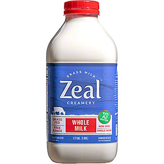 Zeal Creamery Grass Fed Whole Milk, 64 oz