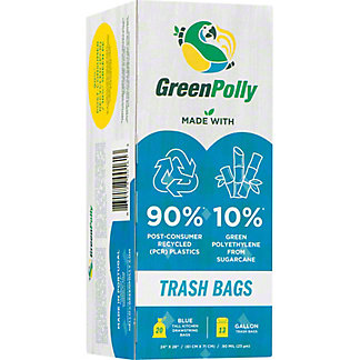 Green Polly 13 Gallon Trash Bags, 20 ct