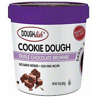 Doughlish Ready To Eat Triple Chocolate Brownie Cookie Dough, 14 oz