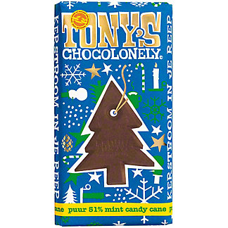 Tony's Chocolonely Candy Cane 51% Dark ChocolateBar, 6.35 oz