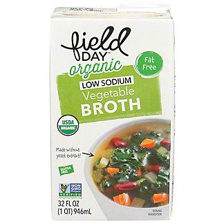 Field Day Organic Vegetable Broth Low Sodium, 32 fl oz