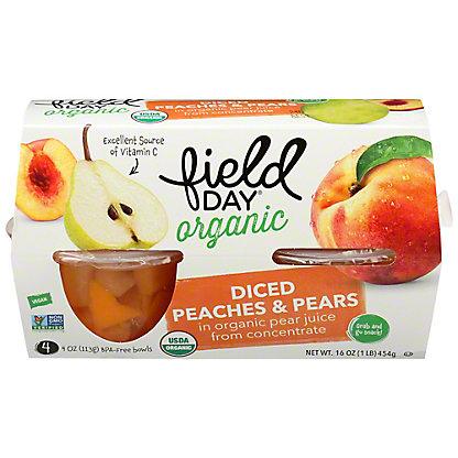Field Day Organic Diced Pear & Peaches, 4 ct