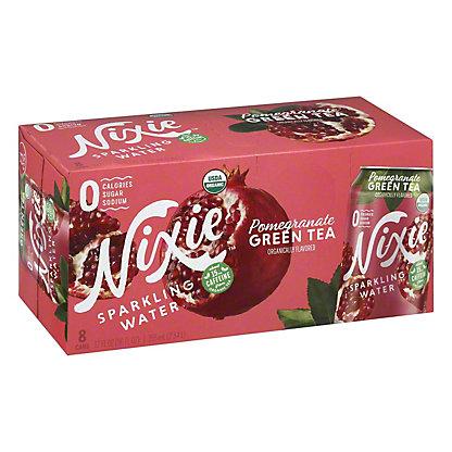 Nixie Sparkling Water Organic Pomegranate Green Tea, 8 pk Cans, 12 fl oz ea