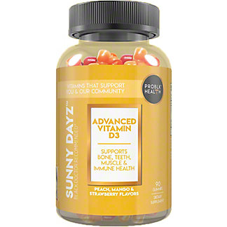 Problk Health Sunny Dayz Peach, Mango Strawberry Flavor Vitamin D 2000iu Gummies, 90 ct