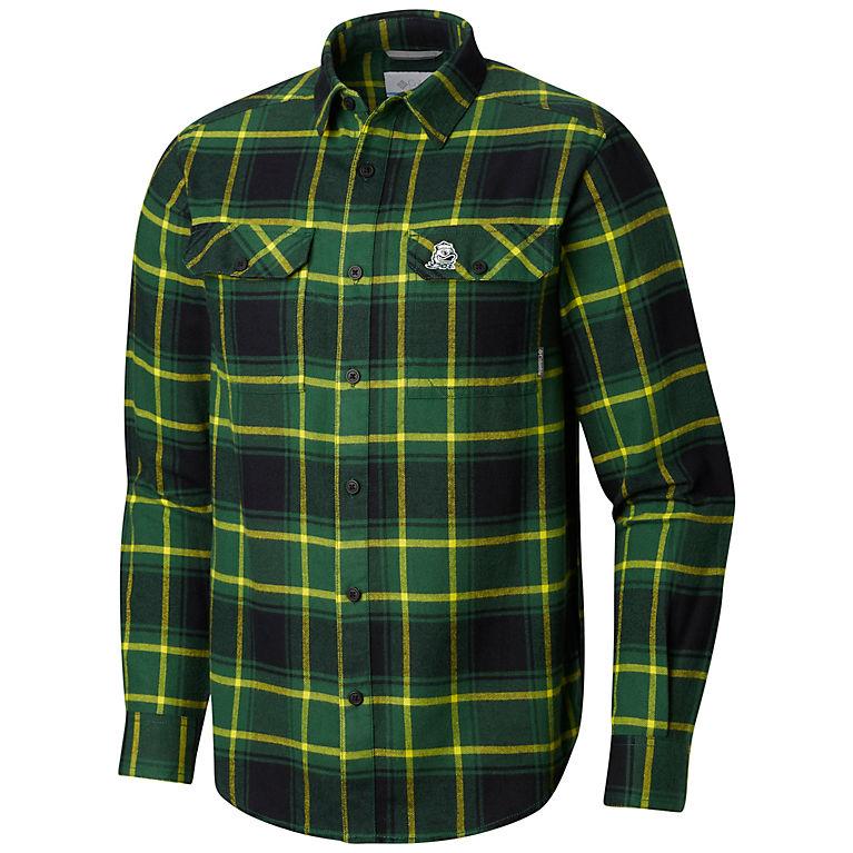 4d7974408d4 UO - Forest, Yellow Glo Plaid Men's Collegiate Flare Gun™ Flannel Long  Sleeve Shirt