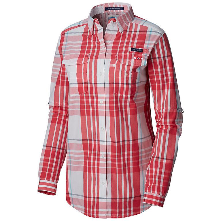 4cf461f40 Bright Geranium Plaid Women's PFG Super Bonehead™ II Long Sleeve Shirt, ...