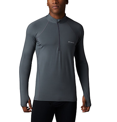 Men's Midweight Stretch Long Sleeve Baselayer Half Zip Shirt , front