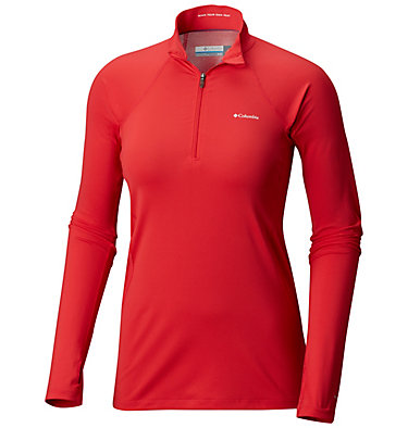 Women's Midweight Stretch Baselayer Long Sleeve Half Zip Shirt , front