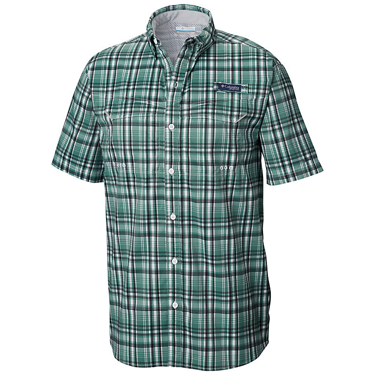 384147ed63e Thyme Green Small Plaid Men's PFG Super Low Drag™ Short Sleeve Shirt, ...