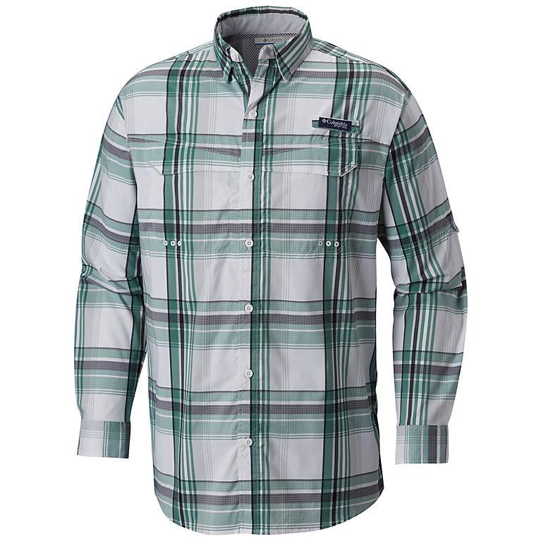 b51f198c8 Thyme Green Large Plaid Men s PFG Super Low Drag™ Long Sleeve Shirt