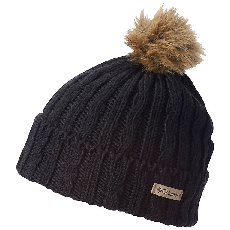 b71e058a7048b Catacomb Crest Pom Pom Cable Knit Fleece Lined Beanie Hat