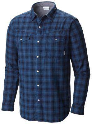 aa53c7902c3 Columbia   Men's Leadville Ridge Double Cloth Chambray Lined Plaid Pearl  Snap Long Sleeve Shirt
