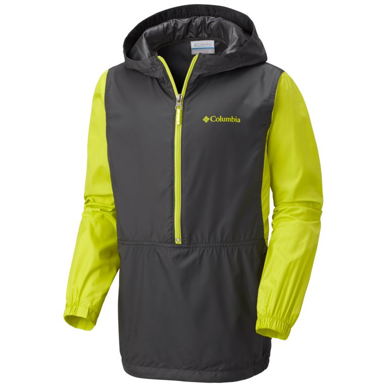 Columbia Boys' Morning View Windbreaker Jacket (Grill/Chartreuse)