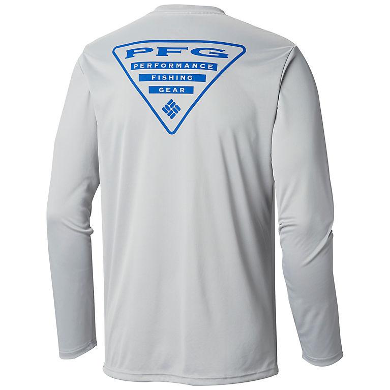 5daa3277592 Cool Grey, Vivid Blue Logo Men's PFG Terminal Tackle™ Triangle™ Long Sleeve  Shirt