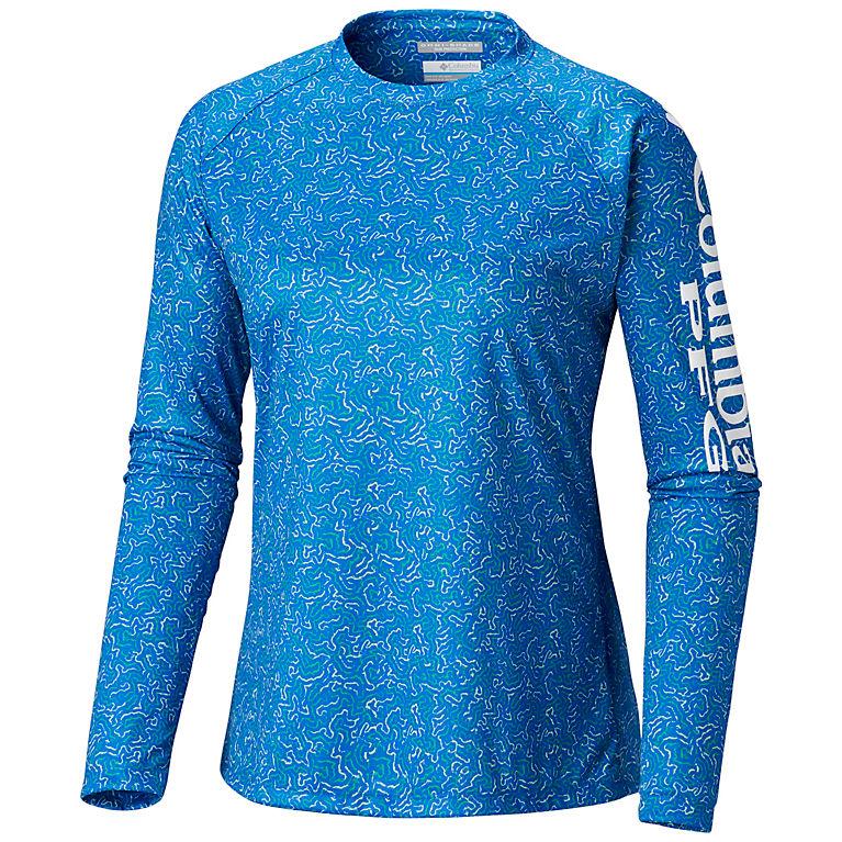 ffa4a79c339 Blue Macaw Coral Print Women's PFG Super Tidal Tee™ II Long Sleeve Shirt -  Plus