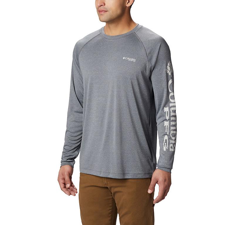 a9ee397a Charcoal Hthr, Cool Grey Logo Men's PFG Terminal Tackle™ Heather Long  Sleeve Shirt,