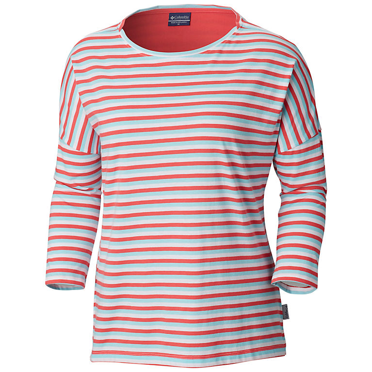 Bright Geranium Stripe Women s PFG Harborside™ 3 4 Sleeve Shirt 3e4c7d4742