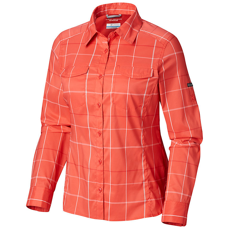 891b9462e7f5b3 Red Coral Large Plaid Women's Silver Ridge™ Lite Plaid Long Sleeve Shirt,  View 0
