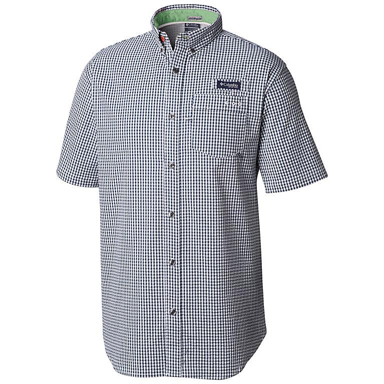 9eaae400857 Collegiate Navy Gingham Men's PFG Super Harborside™ Woven Short Sleeve Shirt,  ...