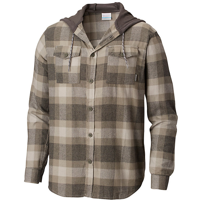 7aaaa10a8 Men s Flare Gun Plaid Flannel Button-up Hoodie Shirt