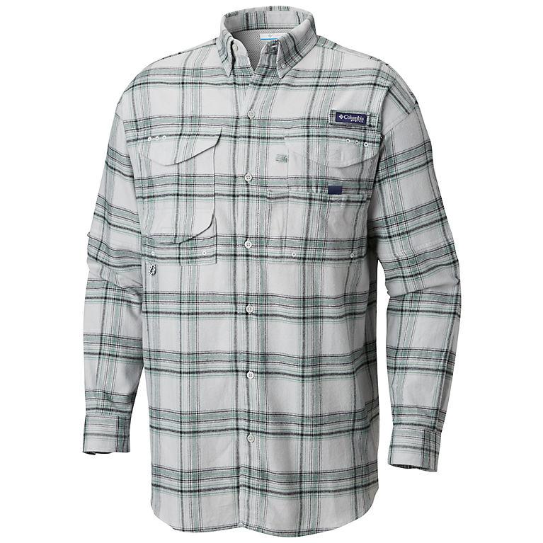 6bb9e81b6d1 Cool Grey Large Plaid Men's PFG Bonehead™ Flannel Long Sleeve Shirt, ...