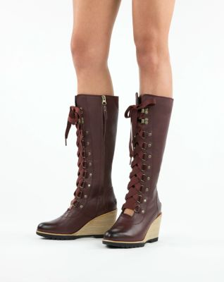 8b89833b6bfad3 Women's After Hours Waterproof Leather Tall Lace Up Wedge Boot | SOREL