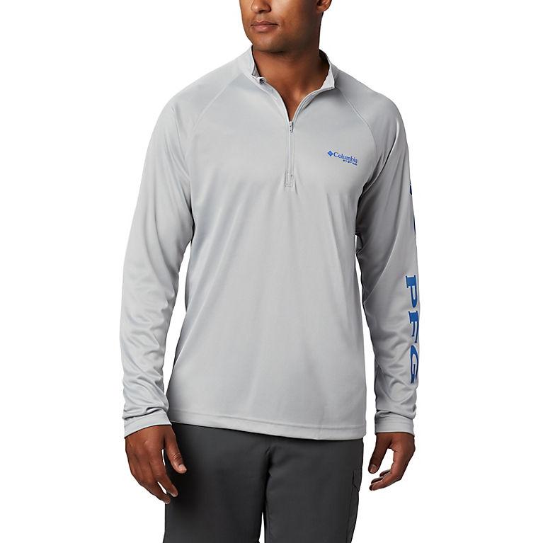 4cdf3a4fcb39 Cool Grey, Vivid Blue Logo Men's PFG Terminal Tackle™ 1/4 Zip Pullover