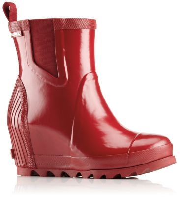 Sorel Womens Joan Rain Wedge Chelsea Gloss Boot
