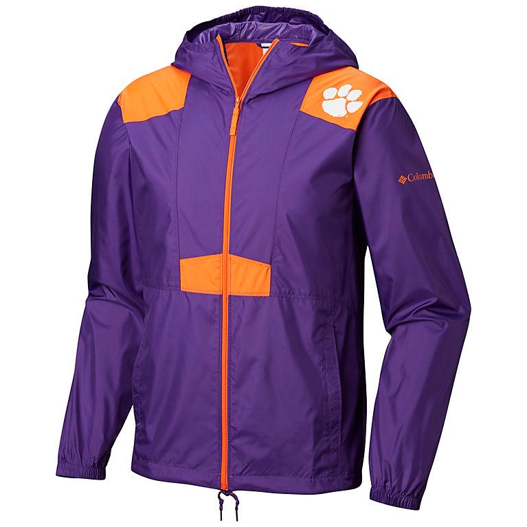 48aa105a CLE - Vivid Purple, Orange Men's Collegiate Flashback™ Windbreaker -  Clemson, View 0