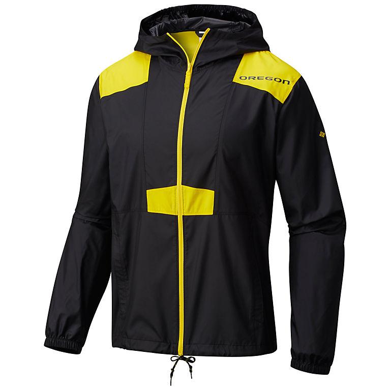 63da79e9 UO - Black, Yellow Glo Collegiate Flashback™ Windbreaker - Oregon, View 0