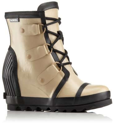 b85709bfa18 Women s Joan Rain Rubber Wedge Lace Up Felt Lined Boot