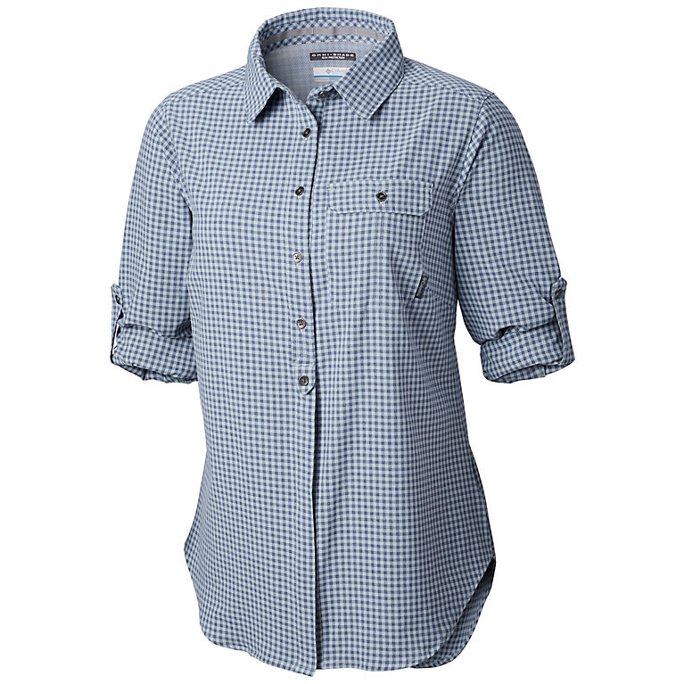 67973a5adcda Cirrus Grey Gingham Women s Bryce Canyon™ Stretch Long Sleeve - Plus Size