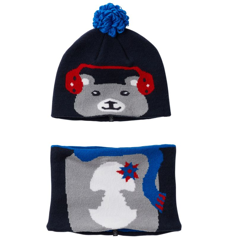 Snow More™ Beanie and Gaiter S | 464 | O/S Toddlers' Snow More™ Beanie and Gaiter Set , Collegiate Navy Bear, front