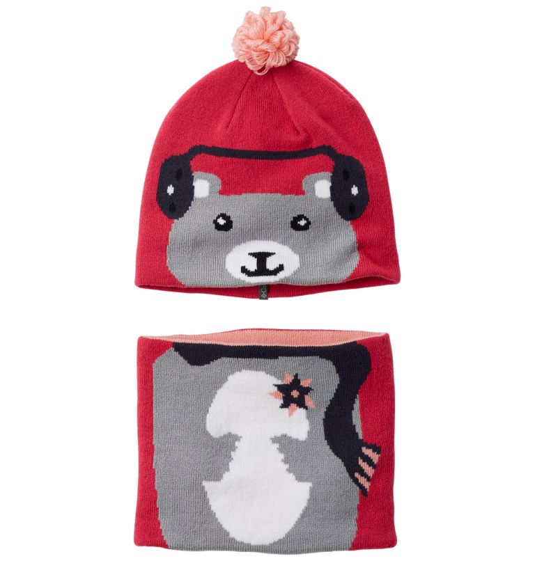Snow More™ Beanie and Gaiter S | 612 | O/S Toddlers' Snow More™ Beanie and Gaiter Set , Cactus Pink Bear, front