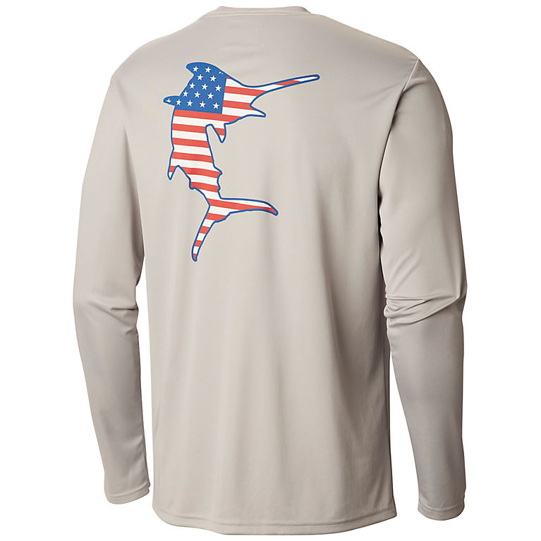 a1f6a00d93d2 Cool Grey, Marlin Men's PFG Terminal Tackle Americana Fish™ Long Sleeve  Shirt—Big