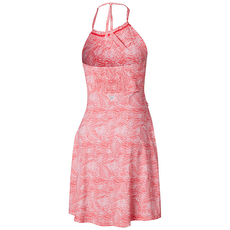 4a959b58f9d7 Bright Geranium Wave Leaves Print Women's PFG Armadale™ II Halter Top Dress,  ...