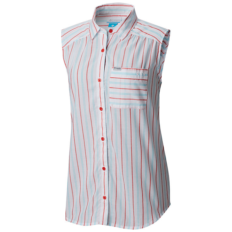 e2229eccdf6 Bright Geranium Stripe Women's PFG Sun Drifter™ II Sleeveless Shirt, ...
