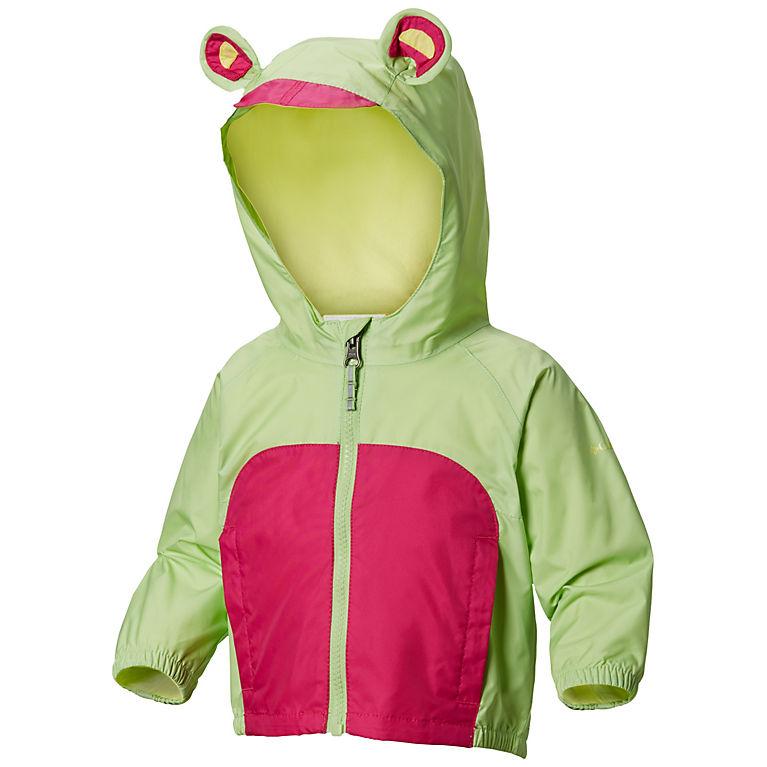 05147f165 Jade Lime, Haute Pink Infant Kitteribbit™ Fleece Lined Rain Jacket, View 0